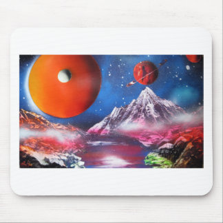 Spray Paint Art Outer Space Planets Scene Mouse Pad