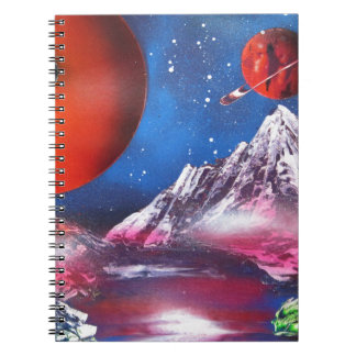 Spray Paint Art Outer Space Planets Scene Notebook