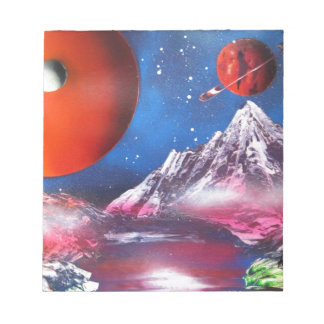 Spray Paint Art Outer Space Planets Scene Notepad