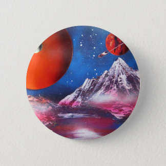 Spray Paint Art Outer Space Planets Scene Pinback Button