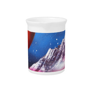 Spray Paint Art Outer Space Planets Scene Pitcher