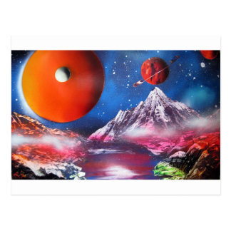 Spray Paint Art Outer Space Planets Scene Postcard