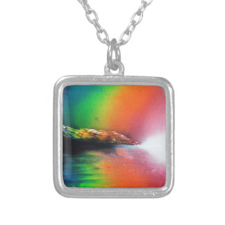 Spray Paint art Rainbow Landscape Painting Silver Plated Necklace