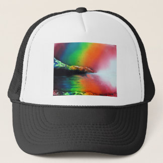 Spray Paint art Rainbow Landscape Painting Trucker Hat