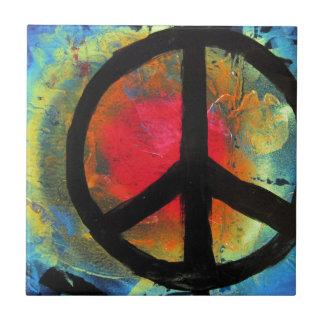 Spray Paint Art Rainbow Peace Sign Painting Tile