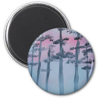 Spray Paint Art Sky and Trees 2 Inch Round Magnet