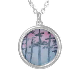 Spray Paint Art Sky and Trees Silver Plated Necklace