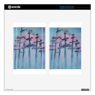 Spray Paint Art Sky and Trees Skins For Kindle Fire