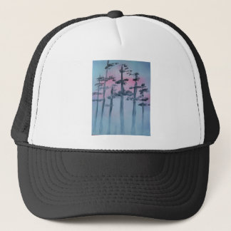Spray Paint Art Sky and Trees Trucker Hat