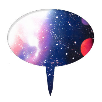 Spray Paint Art Space Galaxy Painting Cake Topper