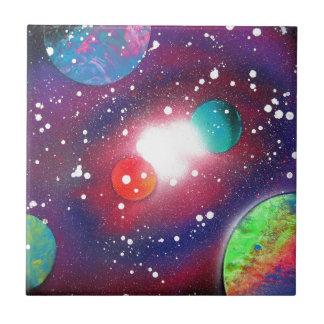 Spray Paint Art Space Galaxy Painting Ceramic Tile