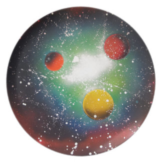 Spray Paint Art Space Galaxy Painting Dinner Plate
