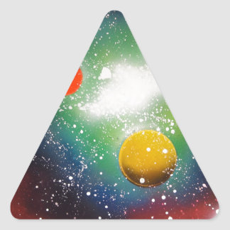 Spray Paint Art Space Galaxy Painting Triangle Sticker