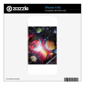 Spray Paint Art Space Landscape Painting iPhone 4 Skin