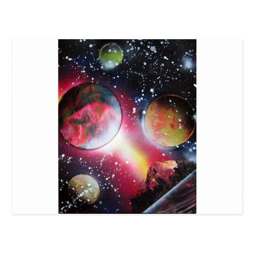 spray paint art space landscape painting postcard zazzle. Black Bedroom Furniture Sets. Home Design Ideas