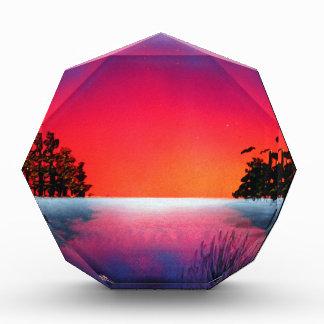 Spray Paint Art Sunset Trees Reflecting on Lake Acrylic Award