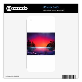 Spray Paint Art Sunset Trees Reflecting on Lake iPhone 4S Decal
