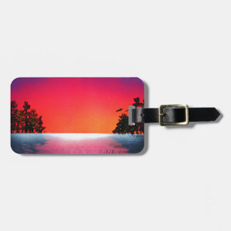 Spray Paint Art Sunset Trees Reflecting on Lake Tag For Luggage