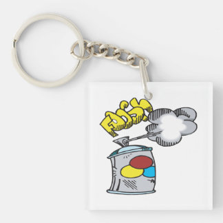 Spray Paint Double-Sided Square Acrylic Keychain