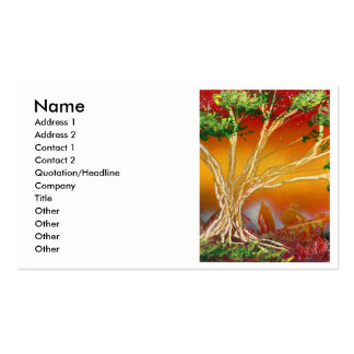 Spray Paint Tree against Red Orange & Back v1 Business Card