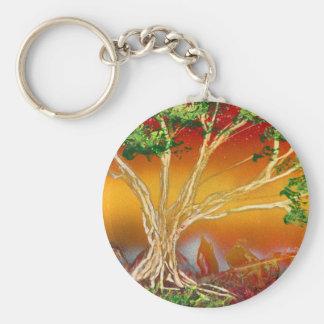 Spray Paint Tree against Red Orange & Back v1 Basic Round Button Keychain