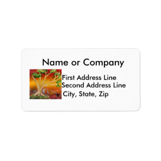 Spray Paint Tree against Red Orange & Back v1 Personalized Address Labels