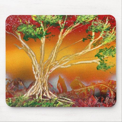 Spray Paint Tree against Red Orange & Back v1 Mouse Pads