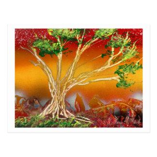 Spray Paint Tree against Red Orange & Back v1 Postcard