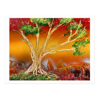 Spray Paint Tree against Red Orange & Back v1 Post Cards