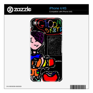 spray painted cartoon character and skatepark decal for iPhone 4