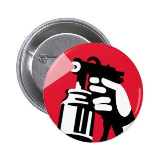 spray painter spray paint worker hand retro pinback button
