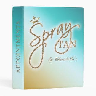 Spray Tan Gold Glitter Crown Blue Mini Appointment Mini Binder