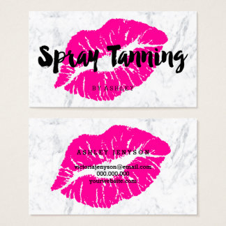Spray tanning lips neon pink typography marble business card