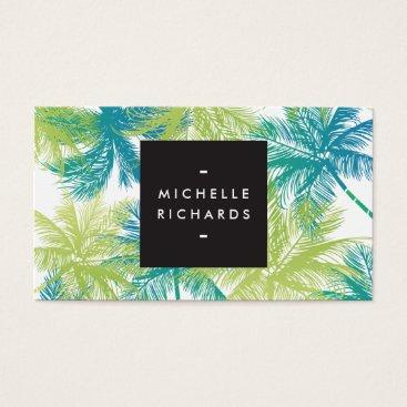 Professional Business Spray Tanning Salon Blue/Green Palms Business Card