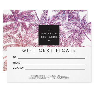 Spray Tanning Salon Glitter Palms Gift Certificate Card