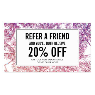 Spray Tanning Salon Glitter Palms Referral Card Business Card