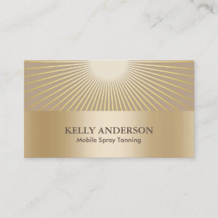 Spray Tanning Salon Golden Sun Rays Modern Business Card