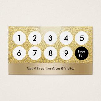 Spray Tanning Salon Modern Gold Glitter Loyalty Business Card