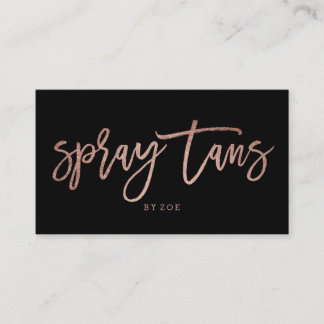 Spray tans logo elegant rose gold typography black business card