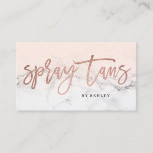 Spray Tans Typography White Marble Blush Pink Business Card