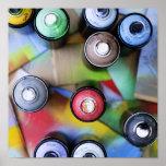 Spraycans colorido poster
