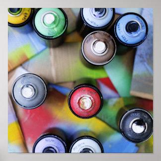 Spraycans colorido póster
