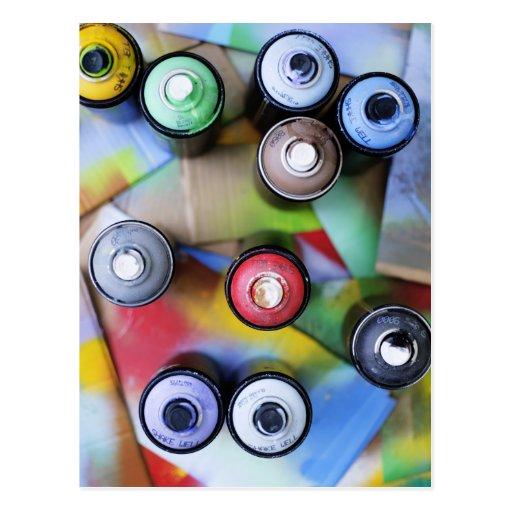 Spraycans colorido tarjetas postales