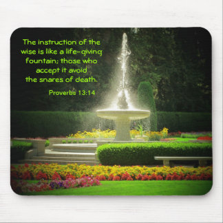 Spraying Fountain with Proverbs 13:14 Mouse Pads
