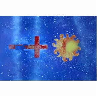 spraypaint cruzado del azul del sol del hombre