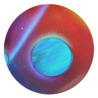 spraypaint de los planetas del verde azul de la No Platos De Comidas
