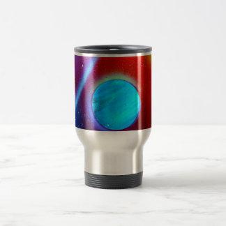 spraypaint de los planetas del verde azul de la taza de viaje de acero inoxidable