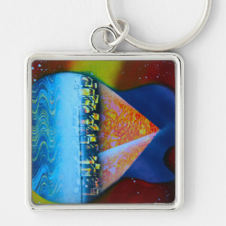 Spraypainting guitar pyramid city water Silver-Colored square keychain