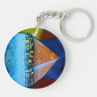 Spraypainting guitar pyramid city water Double-Sided round acrylic keychain