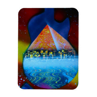 Spraypainting guitar pyramid city water rectangle magnet
